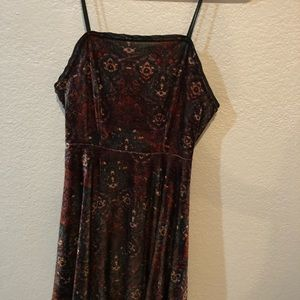 multi-colored velvet dress with lace-back